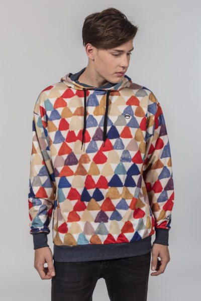 Men Artistic Hoodie Triangles
