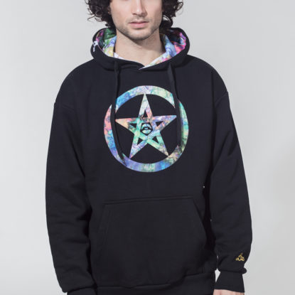 Men Artistic Hoodie Be Safe Logo Trippy