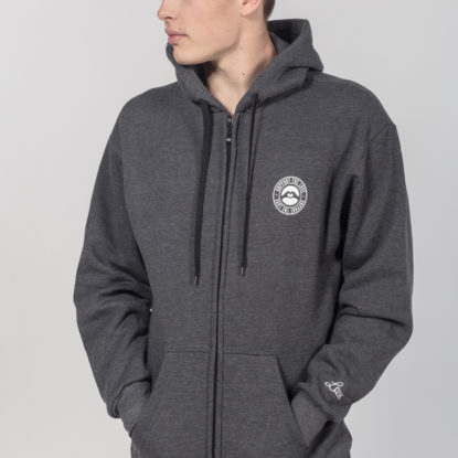 Men Artistic Zip Hoodie Stamped Logo Hip