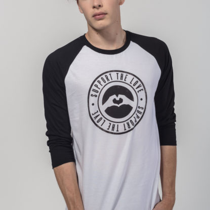 Men Raglan Stamped Logo White