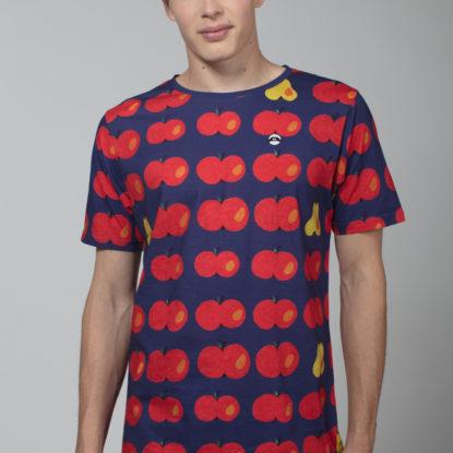 Men Artistic T-Shirt Apples Blue