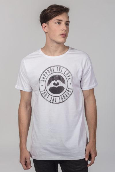 Men Artistic T-Shirt Stamped Logo White