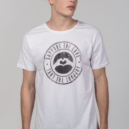 Men Artistic T-Shirt Stamped Logo White