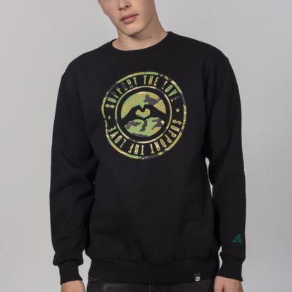 Men Artistic Sweater Stamped Camo