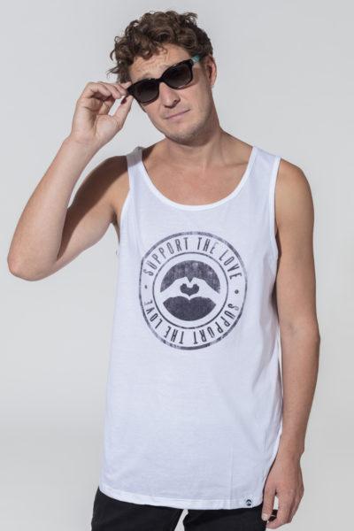 Men Tank Top Stamped Logo White